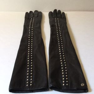 Long studded Michael Kors leather gloves large